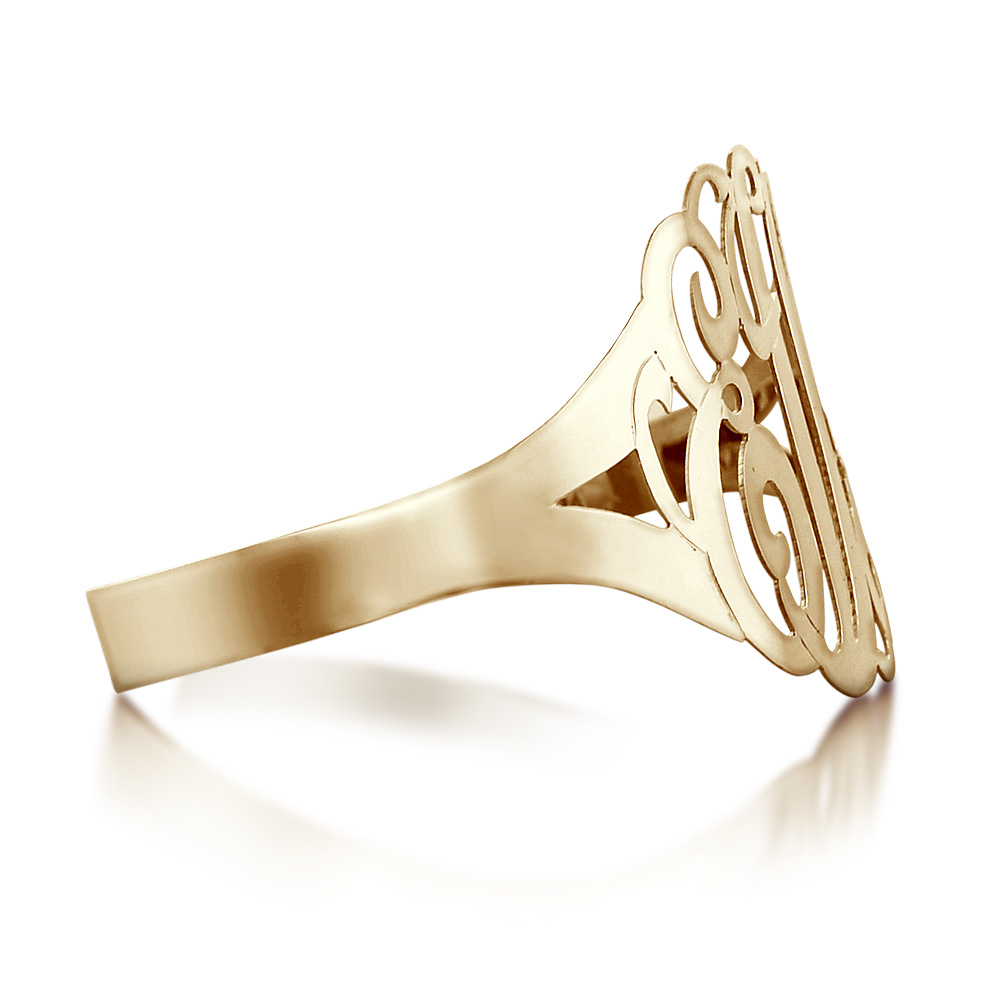 Gold Monogram Cuff Bracelet Zoom View