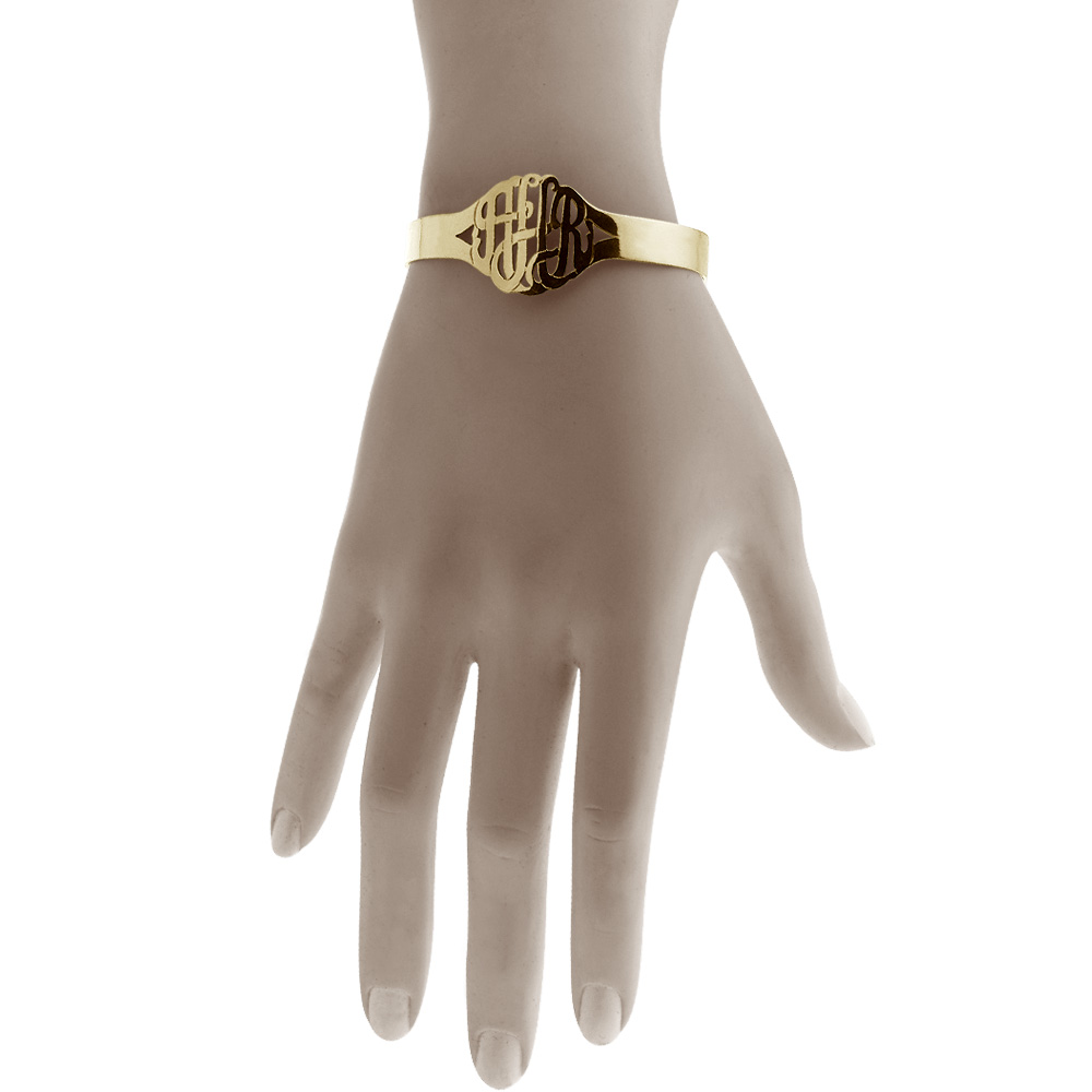 Gold Monogram Cuff Bracelet Fit Detail
