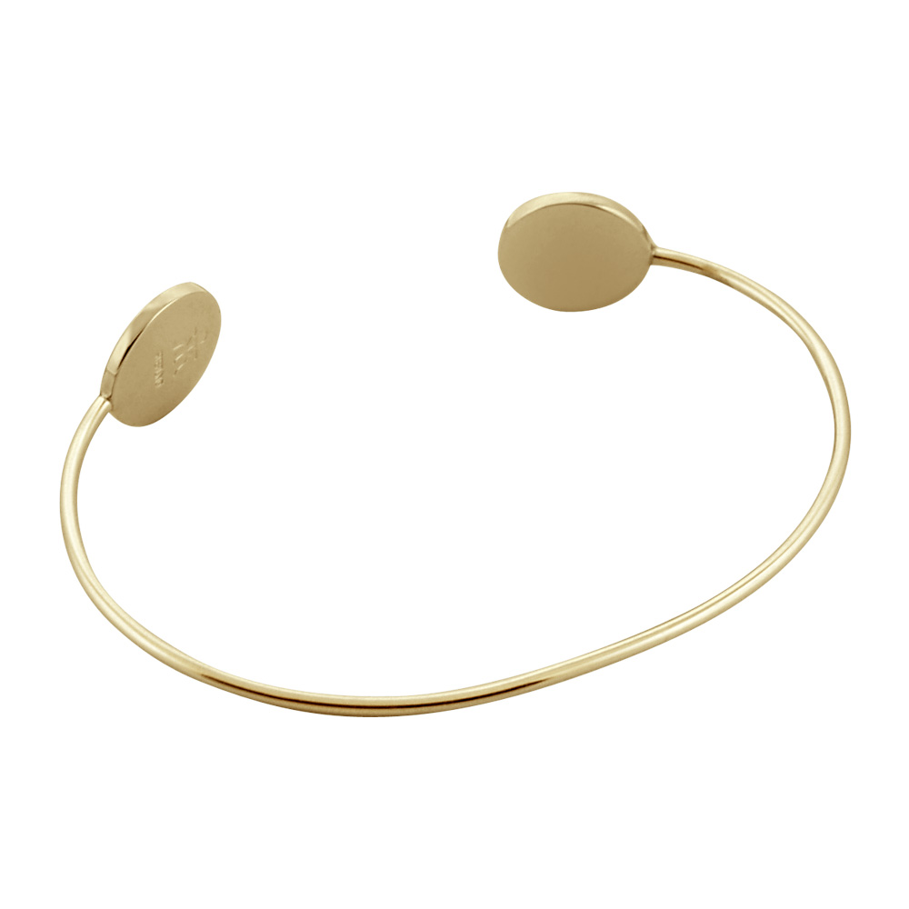 14k Gold Custom Engraved Double Initial Disc Bangle Bracelet