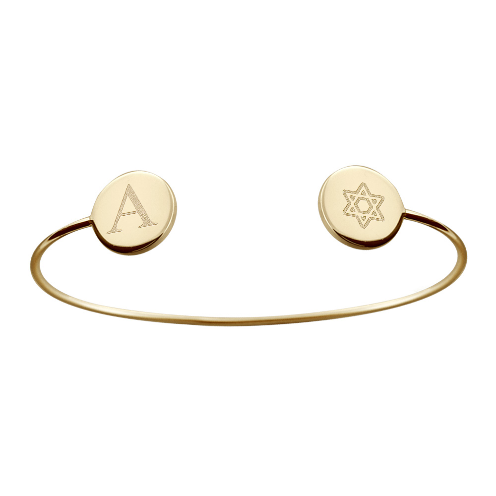 14k Gold Custom Engraved Initial and Star of David Disc Bangle Bracelet
