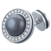 HIS� - Signature Diamond and Hematite Sterling Silver Cufflinks