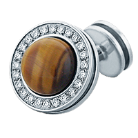 HIS� - Signature Diamond and Tiger's Eye Sterling Silver Cufflinks