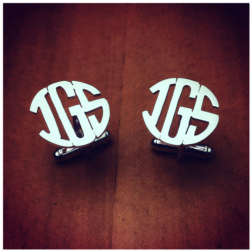 Sterling Si;ver Block Monogram Cufflinks with Cut Out Initials
