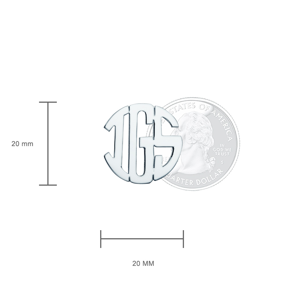 Sterling Silver Cut Out Initial Monogram Cufflinks Size Detail