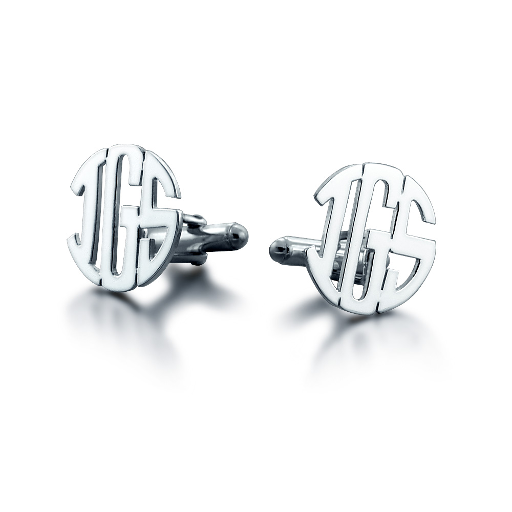 Sterling Silver Cut Out Initial Monogram Cufflinks