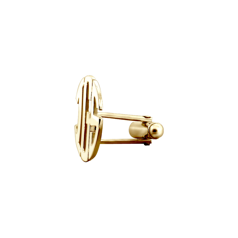 14k Gold Cut Out Initial Monogram Cufflinks Swivel Backing