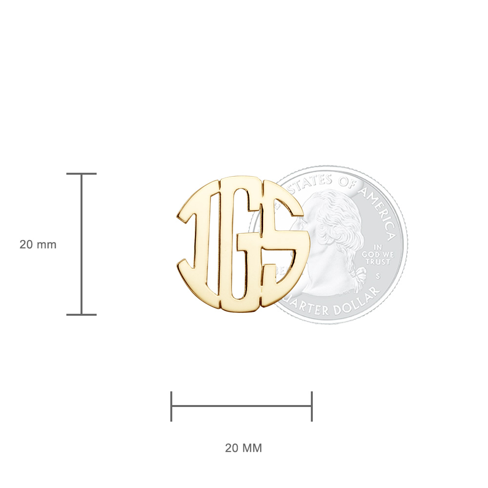14k Gold Cut Out Initial Monogram Cufflinks Size Detail