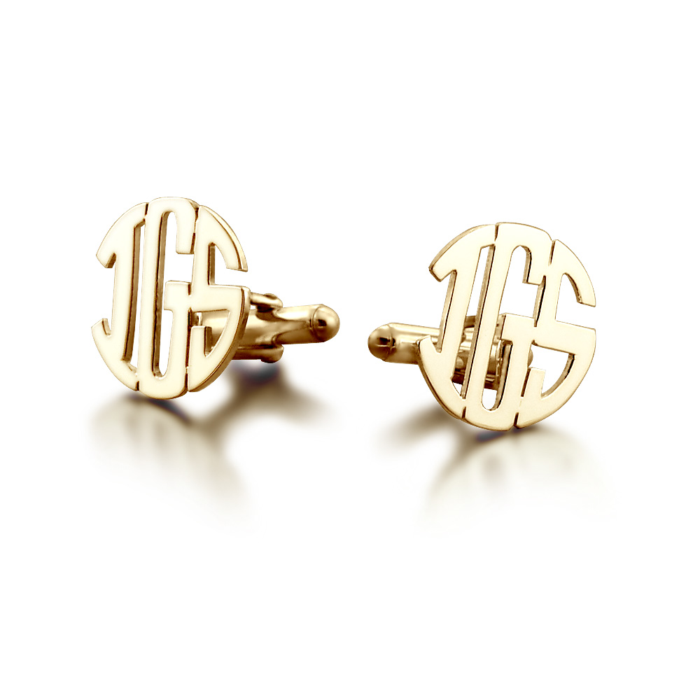 14k Gold Cut Out Initial Monogram Cufflinks