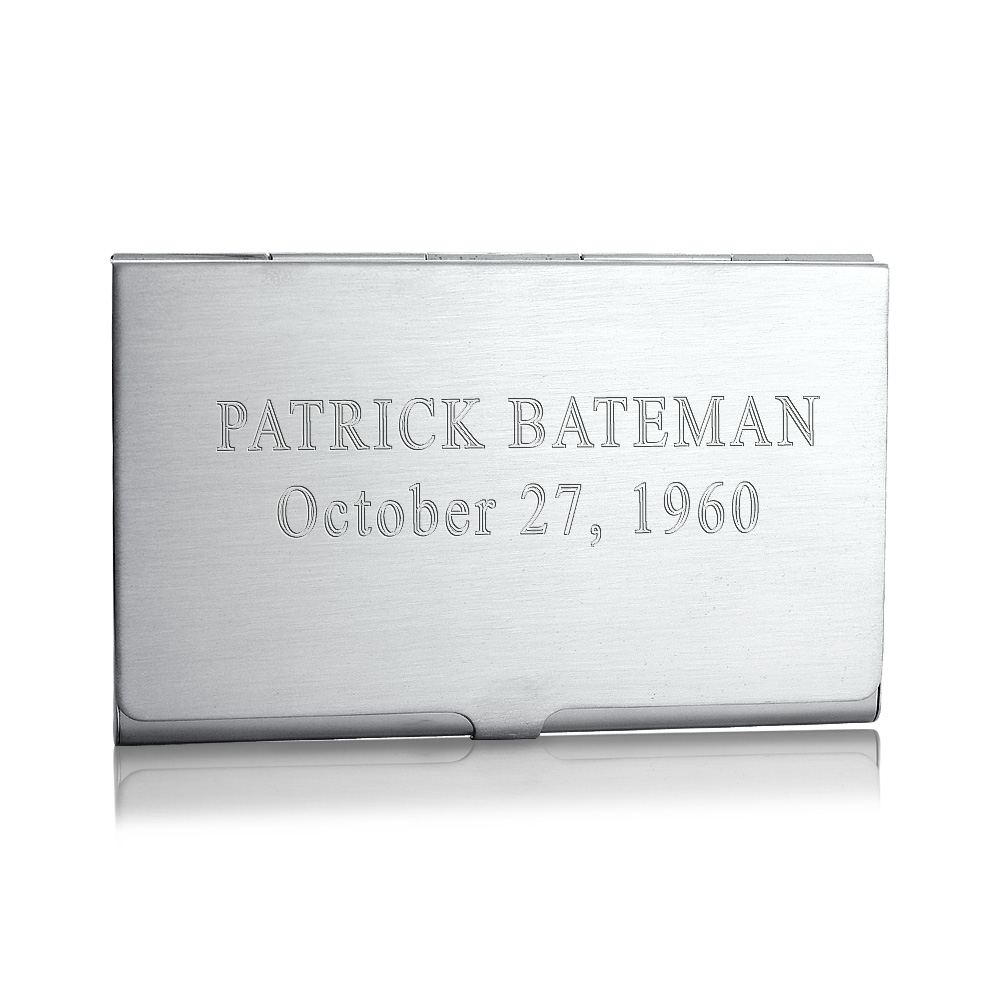 Sterling Silver Business Card Case Test Engraving
