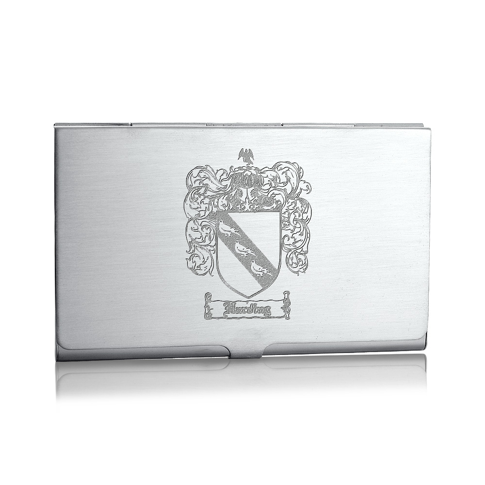 Sterling Silver Business Card Case Family Crest Engraving
