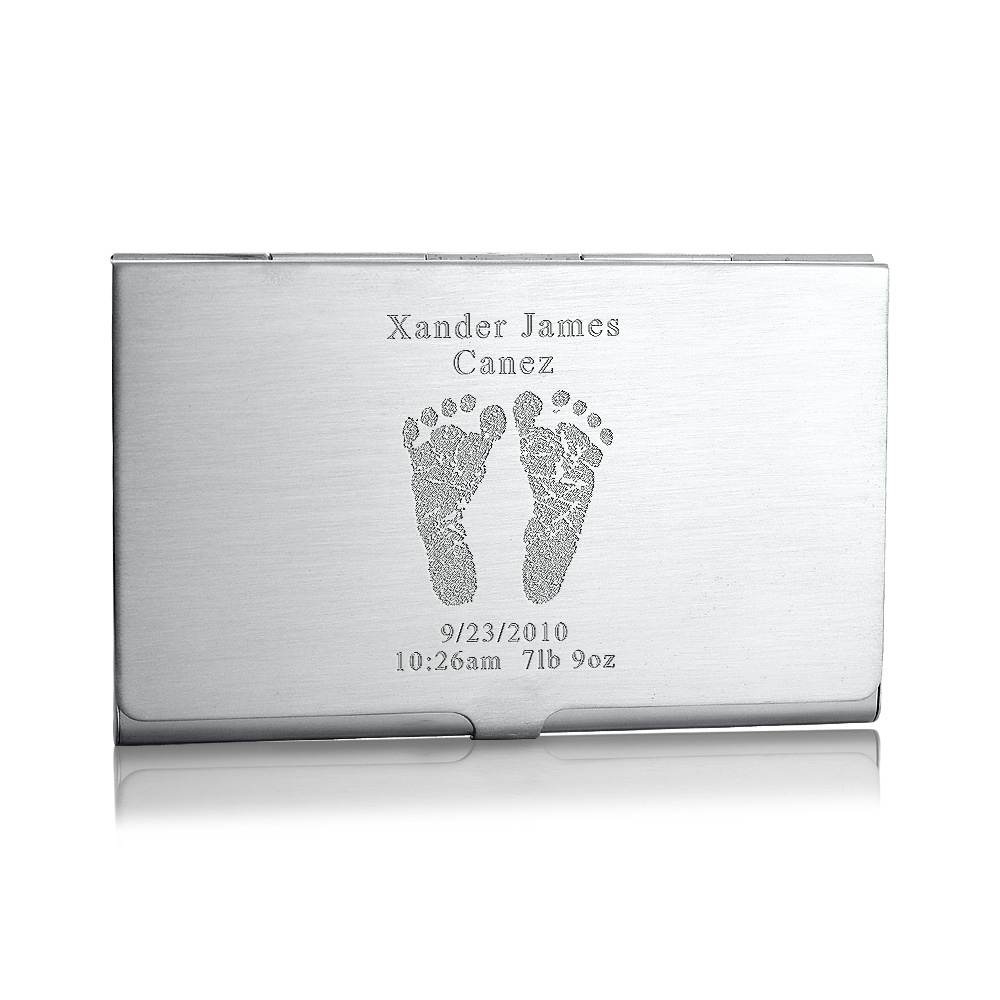 Sterling Silver Business Card Case Engraved with Baby Feet
