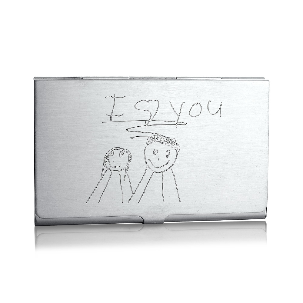 Sterling Silver Business Card Case Engraved with Childrens Art
