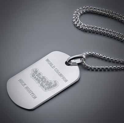 Custom Engraved Mens Silver Dog Tag Necklace for Surfer