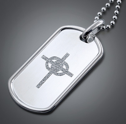 Custom Engraved Men's Dog Tag with Cross