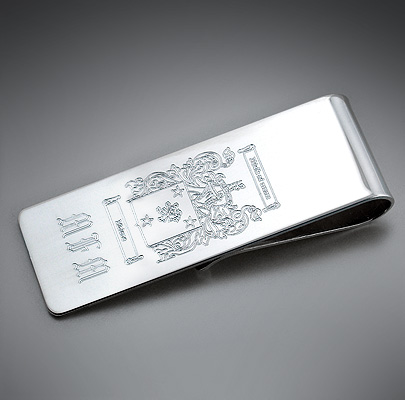 Engraved Silver Money Clip with Family Crest
