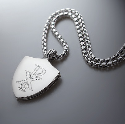 Custom Engraved Silver Shield Necklace