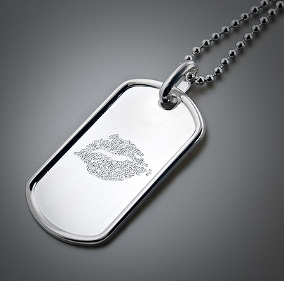 Engraved Mens Dog Tag with Girlfriends Lips