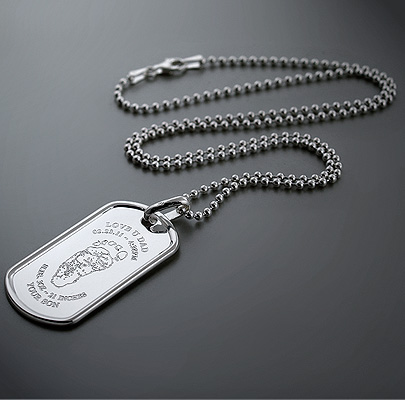 Custom Engraved Mens Large Silver Dog Tag Necklace