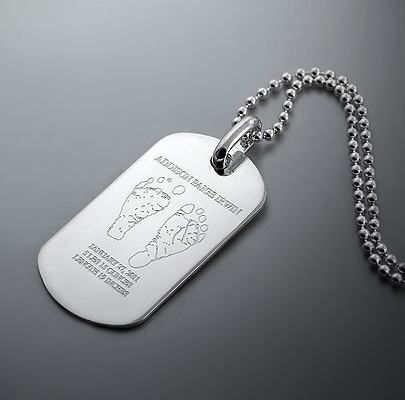 Custom Engraved Mens Dog Tag Necklace with Baby Footprints