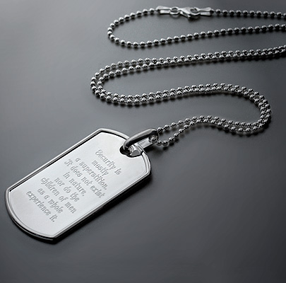 Engraved Mens Dog Tag with  Helen Keller Quotation