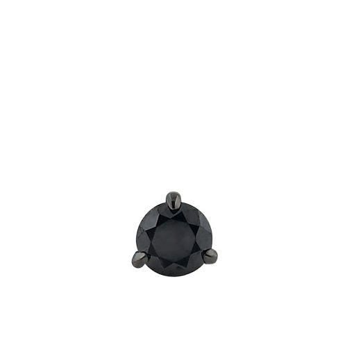 HIS - Mens 14k White Gold Claw Prong Round Black Diamond Stud Earring (0.50 ctw)
