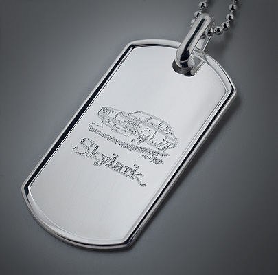 Engraved Mens XL Dog Tag with First Car