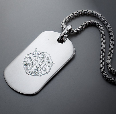 Engraved Silver Dog Tag with Custom Fire Department Crest