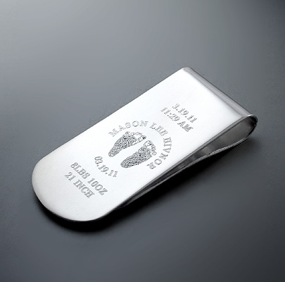 Custom Engraved Silver Money Clip for New Dad