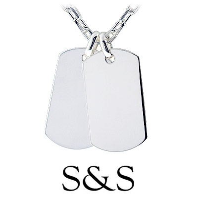 Men's dual dog tag necklace from the HIS collection crafted in solid .925