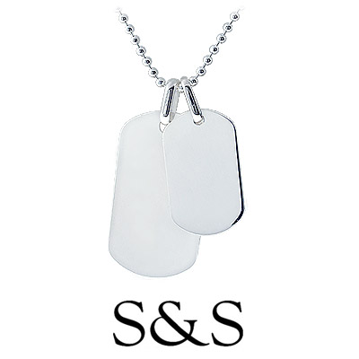 This engravable men's dog tag necklace from the HIS collection is crafted in