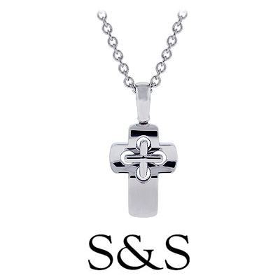 Mens 14k White Gold Dimension Cross Necklace