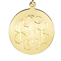 Small 7/8 inch 14k Gold Monogram Disc Charm Necklace