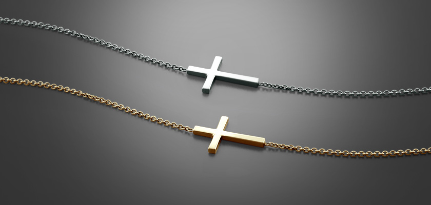Womens Sideways Cross Necklaces