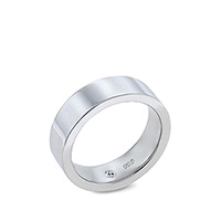 HIS - Mens 7mm Sterling Silver Comfort-Fit Flat Band Wedding Ring