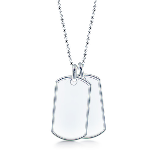 Mens Sterling Silver Double Extra Large Raised Edge Dog Tag Necklace w/ Ball Chain (Engravable)