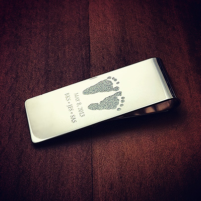 Custom Engraved Money Clip with Baby Footprints