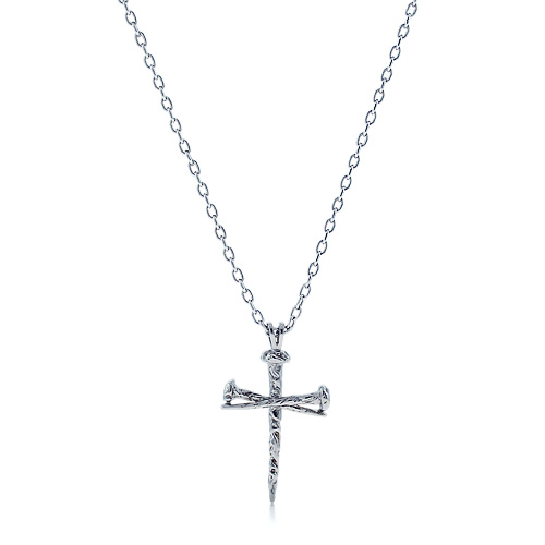 Mens 14k White Gold Passion Nail Cross Necklace