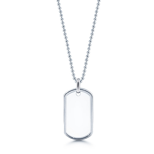 Mens Sterling Silver Raised Edge Dog Tag Necklace w/ Ball Chain (Engravable)