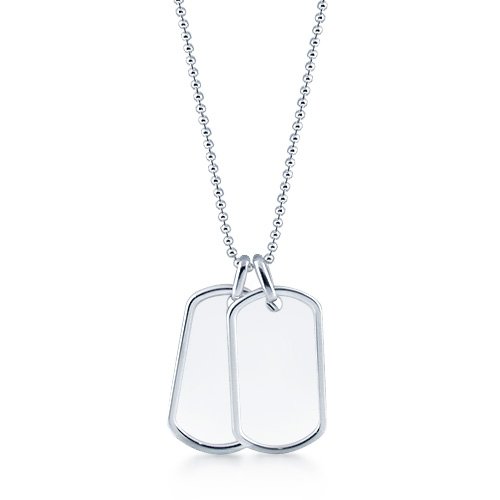 Mens Sterling Silver Double Raised Edge Dog Tag Necklace w/ Ball Chain (Engravable)