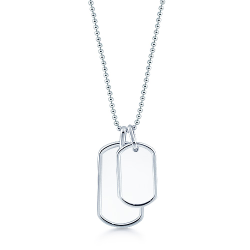 Mens Sterling Silver Large and Small Double Raised Edge Dog Tag Necklace w/ Ball Chain (Engravable)