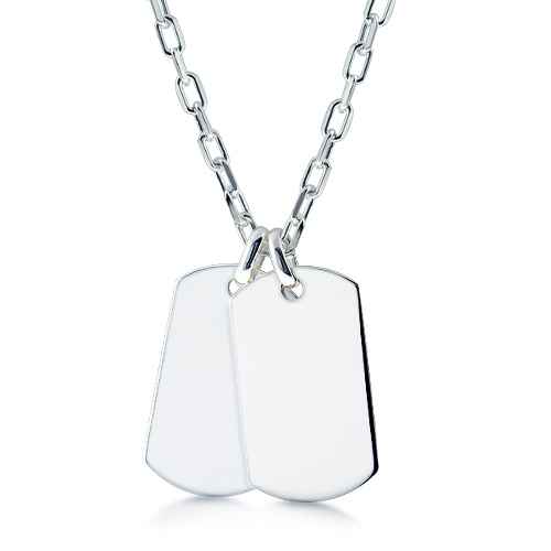 Mens Sterling Silver Double Xl Dog Tag Necklace W/ Oval Link Chain (engravable) Picture