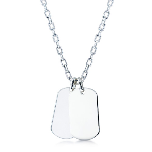 Mens Sterling Silver Double Large Smooth-edge Dog Tag Necklace W/ Oval Link Chain (engravable) Picture