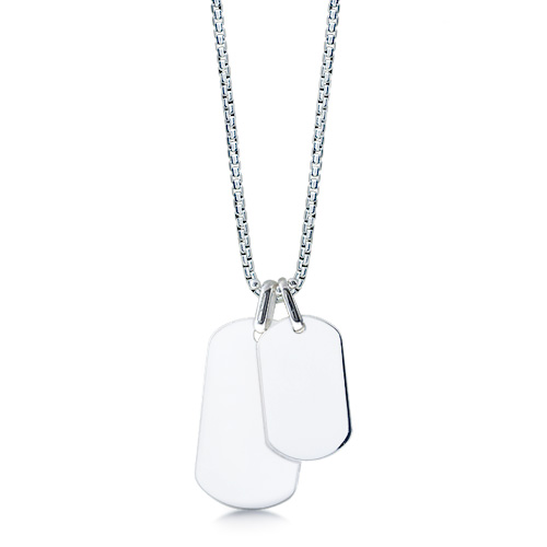 Mens Sterling Silver Large and Small Smooth-Edge Dog Tag Necklace w/ Box Chain (Engravable)