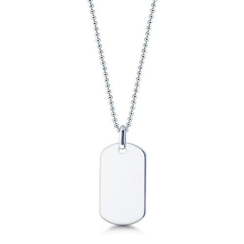 Mens Sterling Silver Large Smooth Edge Dog Tag Necklace W/ Ball Link Chain (engravable) Picture