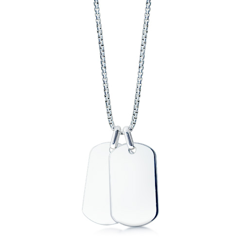 Mens Sterling Silver Double Large Smooth Edge Dog Tag Necklace W/ Box Chain (engravable) Picture