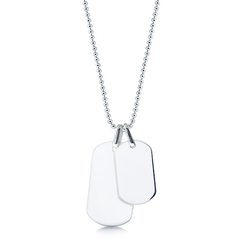 Mens Sterling Silver Large And Small Smooth Edge Dog Tag Necklace W/ Ball Chain (engravable) Picture