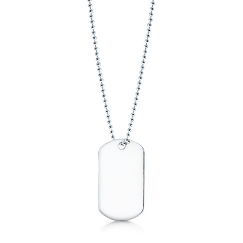 Mens Sterling Silver Smooth Edge Slider Dog Tag Necklace w/ Ball Chain (Engravable)