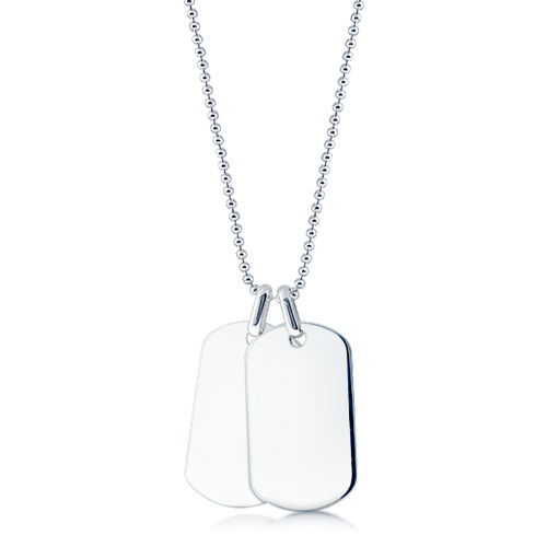 Mens Sterling Silver Double Smooth Edge Dog Tag Necklace w/ Ball Chain (Engravable)