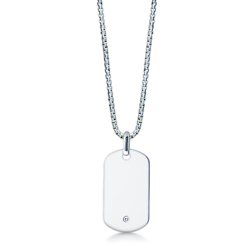 Men's Large Smooth-edge Sterling Silver 0.03 Ct. Diamond Dog Tag Necklace W/t Box Link Chain (engravable) Picture