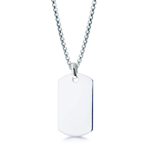 Mens Sterling Silver Extra Large Smooth-Edge Dog Tag Necklace w/ Box Link Chain (Engravable)